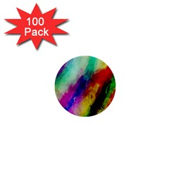 Abstract Colorful Paint Splats 1  Mini Buttons (100 Pack)