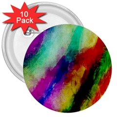 Abstract Colorful Paint Splats 3  Buttons (10 Pack)