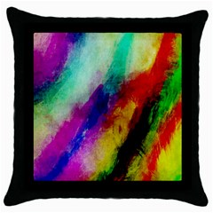 Abstract Colorful Paint Splats Throw Pillow Case (Black)