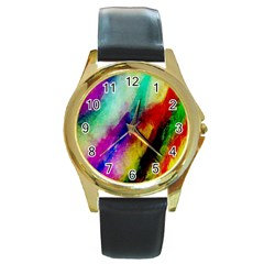 Abstract Colorful Paint Splats Round Gold Metal Watch