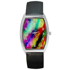 Abstract Colorful Paint Splats Barrel Style Metal Watch