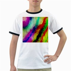 Abstract Colorful Paint Splats Ringer T Shirts