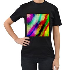 Abstract Colorful Paint Splats Women s T-Shirt (Black) (Two Sided)