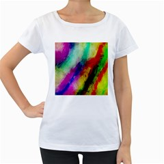 Abstract Colorful Paint Splats Women s Loose Fit T Shirt (white)
