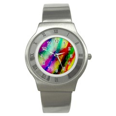 Abstract Colorful Paint Splats Stainless Steel Watch