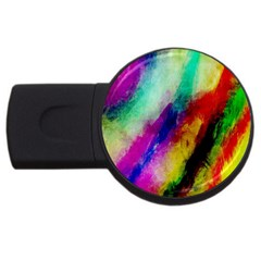 Abstract Colorful Paint Splats Usb Flash Drive Round (4 Gb)