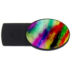 Abstract Colorful Paint Splats USB Flash Drive Oval (4 GB)