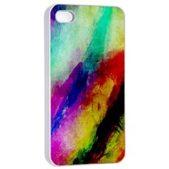Abstract Colorful Paint Splats Apple iPhone 4/4s Seamless Case (White)