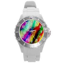 Abstract Colorful Paint Splats Round Plastic Sport Watch (L)