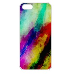 Abstract Colorful Paint Splats Apple Iphone 5 Seamless Case (white)