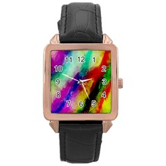 Abstract Colorful Paint Splats Rose Gold Leather Watch