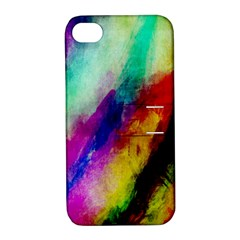 Abstract Colorful Paint Splats Apple iPhone 4/4S Hardshell Case with Stand