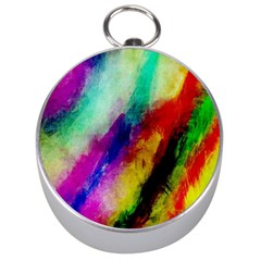 Abstract Colorful Paint Splats Silver Compasses