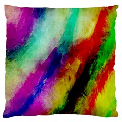 Abstract Colorful Paint Splats Large Flano Cushion Case (One Side)