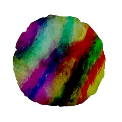 Abstract Colorful Paint Splats Standard 15  Premium Flano Round Cushions