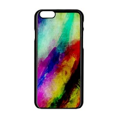 Abstract Colorful Paint Splats Apple iPhone 6/6S Black Enamel Case