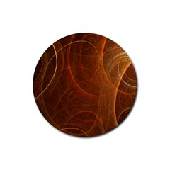 Fractal Color Lines Rubber Round Coaster (4 pack)