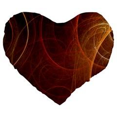 Fractal Color Lines Large 19  Premium Heart Shape Cushions