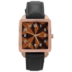 Fractal Patterns Rose Gold Leather Watch