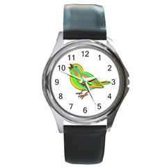 Bird Round Metal Watch