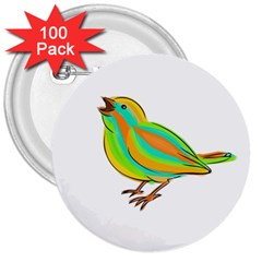 Bird 3  Buttons (100 pack)