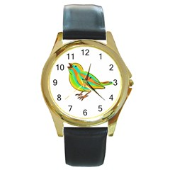 Bird Round Gold Metal Watch