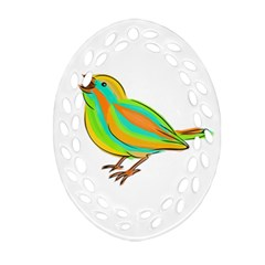 Bird Oval Filigree Ornament (Two Sides)