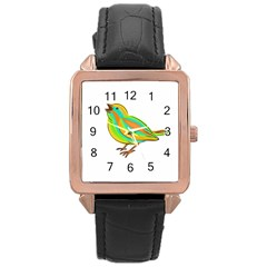 Bird Rose Gold Leather Watch