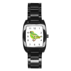 Bird Stainless Steel Barrel Watch