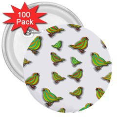 Birds 3  Buttons (100 pack)