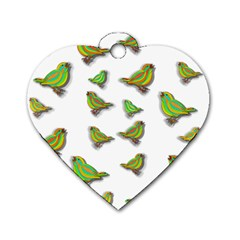 Birds Dog Tag Heart (Two Sides)