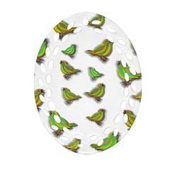 Birds Oval Filigree Ornament (Two Sides)