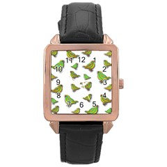 Birds Rose Gold Leather Watch