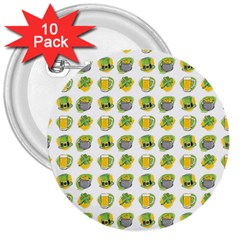 St Patrick S Day Background Symbols 3  Buttons (10 pack)