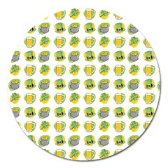 St Patrick S Day Background Symbols Magnet 5  (Round)