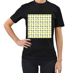 St Patrick S Day Background Symbols Women s T-Shirt (Black) (Two Sided)