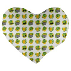 St Patrick S Day Background Symbols Large 19  Premium Heart Shape Cushions