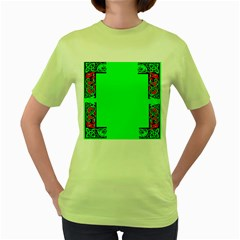 Decorative Corners Women s Green T Shirt