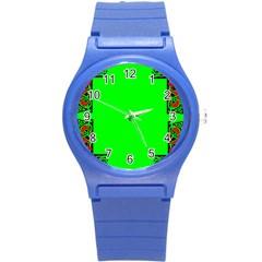 Decorative Corners Round Plastic Sport Watch (S)