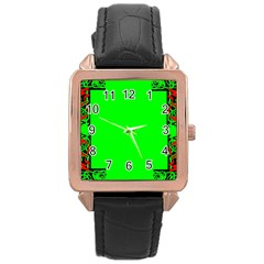 Decorative Corners Rose Gold Leather Watch