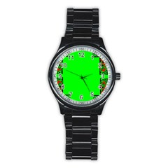 Decorative Corners Stainless Steel Round Watch