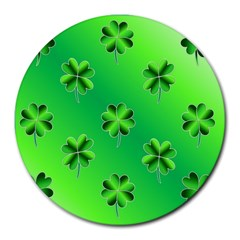 Shamrock Green Pattern Design Round Mousepads
