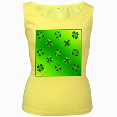 Shamrock Green Pattern Design Women s Yellow Tank Top
