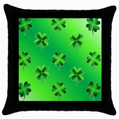 Shamrock Green Pattern Design Throw Pillow Case (Black)