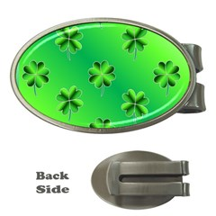 Shamrock Green Pattern Design Money Clips (oval)