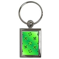 Shamrock Green Pattern Design Key Chains (rectangle)