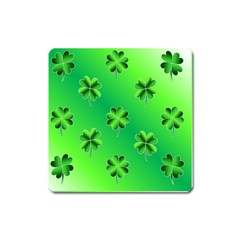 Shamrock Green Pattern Design Square Magnet