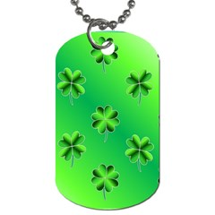 Shamrock Green Pattern Design Dog Tag (Two Sides)