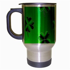 Shamrock Green Pattern Design Travel Mug (silver Gray)