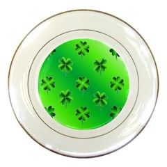 Shamrock Green Pattern Design Porcelain Plates